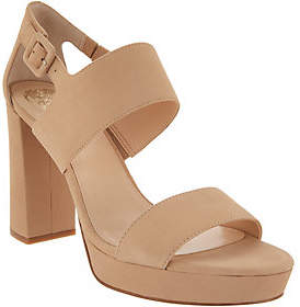 Vince Camuto Leather Block Heeled Sandals -Jayvid