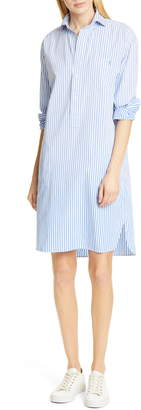 Polo Ralph Lauren Chigo Pinstripe Long Sleeve Cotton Shirtdress