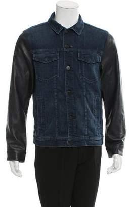J Brand Leather-Accented Denim Jacket