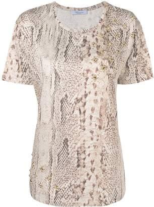 Blumarine studded python print T-shirt