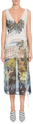 Altuzarra V-Neck Sleeveless Landscape-Print Silk Chiffon Dress