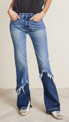 R 13 Vent Kick Double Shredded Jeans