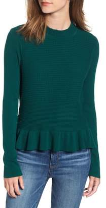 Hinge Ruffle Hem Mock Neck Sweater
