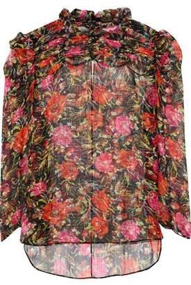 Sandro Amina Ruffle-Trimmed Metallic Floral-Print Silk-Gauze Top