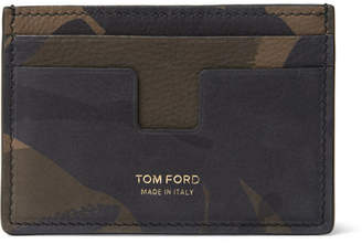 Tom Ford Camouflage-Print Nubuck Cardholder - Green