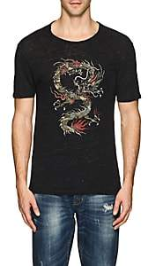 John Varvatos Men's Dragon-Print Linen T-Shirt - Black