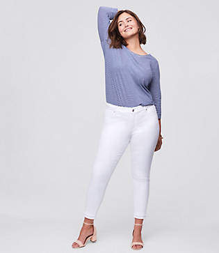 LOFT Plus Double Frayed Skinny Ankle Jeans in White