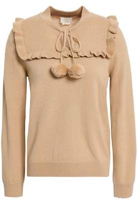 Kate Spade Ruffled Pompom-embellished Wool And Cashmere-blend Sweater