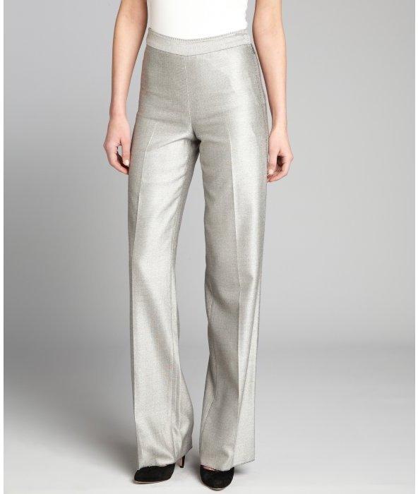 Loro Piana grey silk twill stitch detailed high-waisted trousers