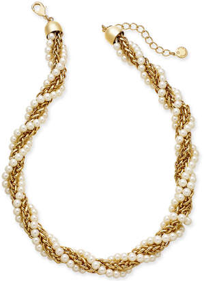 "Charter Club Gold-Tone Imitation Pearl and Chain Twist Collar Necklace, 18"" + 2"" extender"