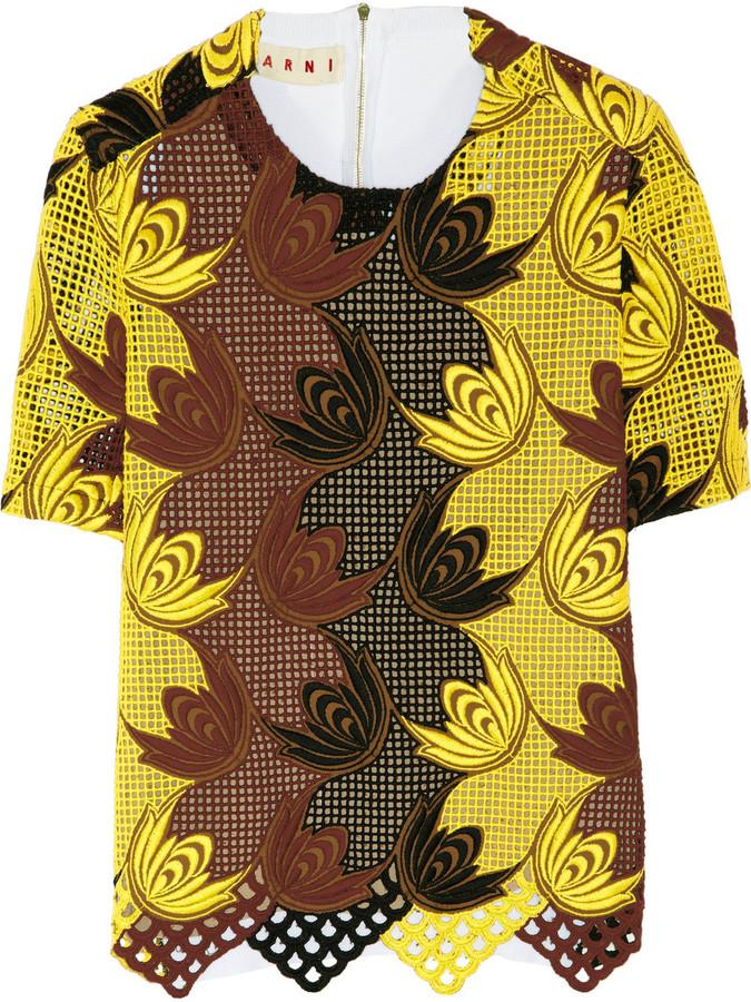 Marni Macramé and fine-knit cotton top