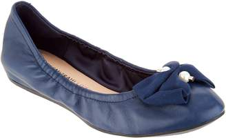 Isaac Mizrahi Live! Leather Ballet Flats with Faux Pearl Bow Detail