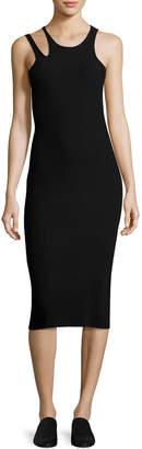 Helmut Lang Slash Rib-Knit Sleeveless Midi Dress, Black