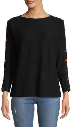 Neiman Marcus 3/4-Sleeve Cashmere Pompom Button Sweater, Black