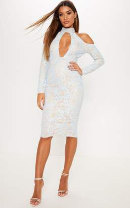 PrettyLittleThing Dusty Blue Lace Cold Shoulder Plunge Detail Midi Dress