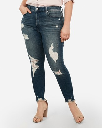Express High Waisted Denim Perfect Curves Ripped Ankle Leggings