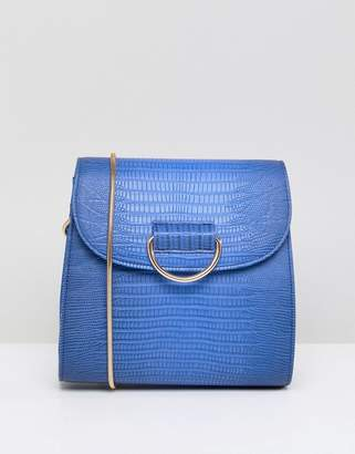 London Rebel Blue Snake Print Crossbody Bag with Gold Buckle Detail
