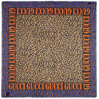 Gucci Modal-Silk Leopard Print Shawl
