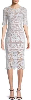 For Love & Lemons Women's Floral Lace Midi Dress