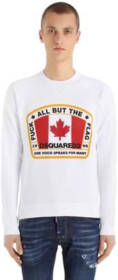 DSQUARED2 Printed Flag Cotton Jersey Sweatshirt