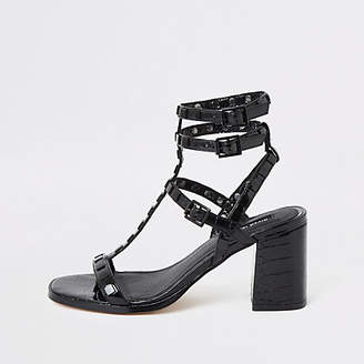 River Island Black studded gladiator block heel sandals