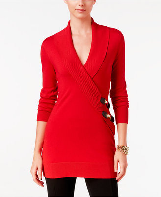 INC International Concepts Faux-Wrap Tunic Sweater, Only at Macy's $69.50 thestylecure.com