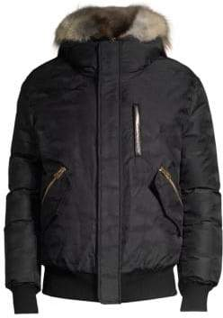 Mackage Men's Dixon Camo Rabbit-Fur Hood Bomber Parka - Black - Size 46