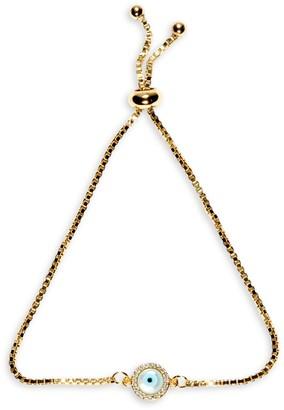 Eye Candy La Luxe 18K Goldplated Crystal Evil Eye Charm Bracelet
