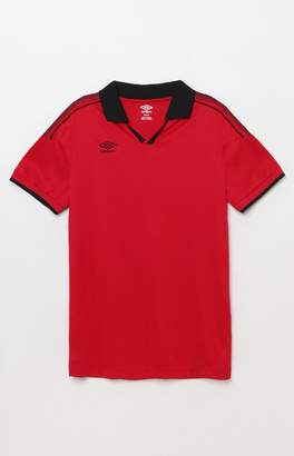 Umbro Red and Black Johnny Collar Jersey