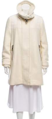Moncler Shearling-Trimmed Down Coat