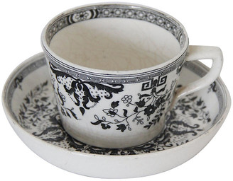 One Kings Lane Vintage Staffordshire Black & White Cup & Saucer - Debra Hall Lifestyle