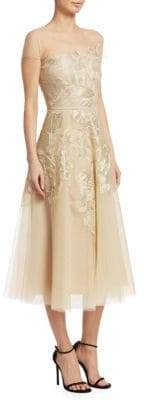 Ahluwalia Ahluwalia Women's Floral Embroidered Tulle Dress - Gold - Size 8