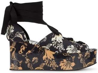 Erdem Wren jacquard platform sandals