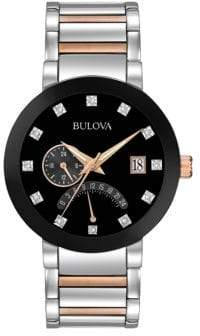 Bulova Analog Multifunction Diamond Detailed Stainless Steel and Goldtone Watch