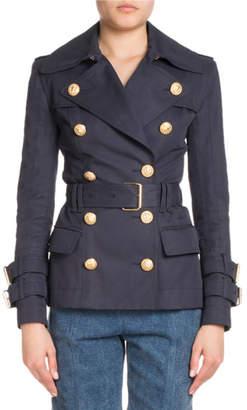 Balmain Short Double-Breasted Trench Jacket