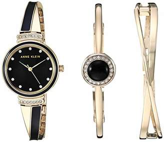 c9b0f6322 Anne Klein Women's AK/3292BKST Swarovski Crystal Accented Gold-Tone and  Black Watch and