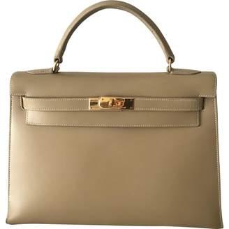 Hermes Vintage Kelly 32 Beige Leather Handbag