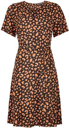 df50d7139f1e Dorothy Perkins Womens Multi Colour Animal Print Short Sleeve Pleat Neck  Fit And Flare Dress