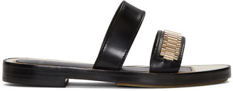 Lanvin Black Double Stripe Chain Sandals $695 thestylecure.com