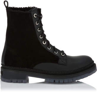 Jimmy Choo MILO Black Sport Calf Leather Boots with Shearling