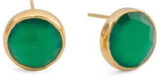 Gold Plated Sterling Silver Green Onyx Stud Earrings
