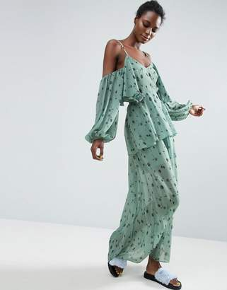 ASOS Made In Kenya Cold Shoulder Maxi Dress In Ditsy Floral $103 thestylecure.com