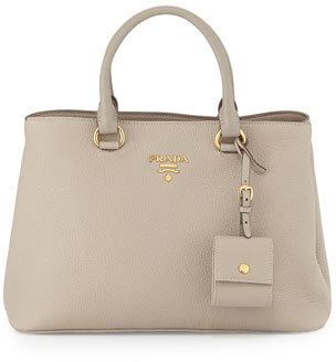 Prada Vitello Daino Tote Bag, Light Gray (Pomice) $1,850 thestylecure.com