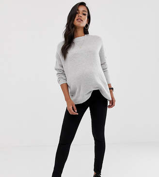 Asos DESIGN Maternity pull on jeggings in clean black with under the bump waistband