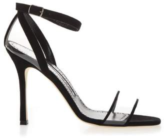 Manolo Blahnik Black Leather & Pvc Sandals