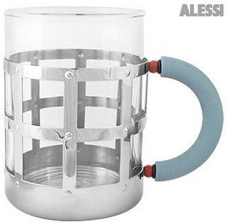 Alessi Stainless Steel Mug with Blue Handle