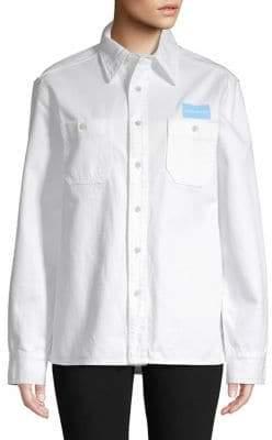 Calvin Klein Jeans Long-Sleeve Logo Cotton Shirt