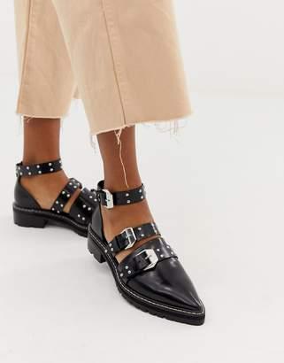 Asos Design DESIGN Mile End premium studded pointed leather flat shoes