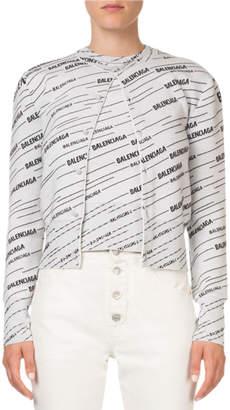Balenciaga Logo-Jacquard Button-Front Cardigan