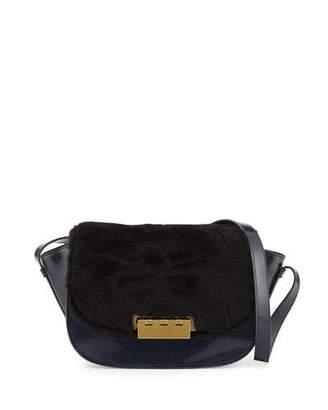 ZAC Zac Posen Eartha Leather & Shearling Crossbody Bag, Midnight/Black $395 thestylecure.com